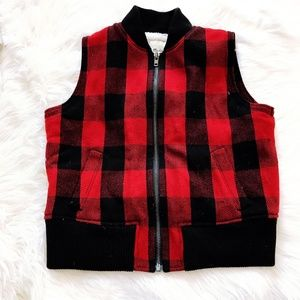 Madewell zip front buffalo plaid vest, size L